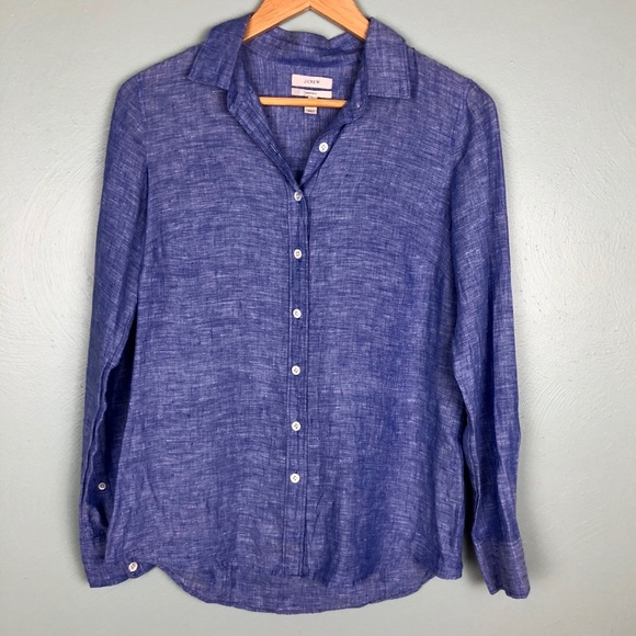 a00ae3ac J. Crew Tops | J Crew Perfect Shirt In Crosshatch Linen | Poshmark